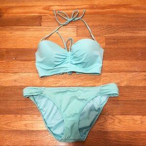Victoria's Secret Blue Bikini Set Top-36B Bottom-M